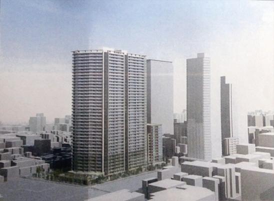 「白金一丁目西部中地区再開発」完成イメージ 出典:日刊建設工業新聞