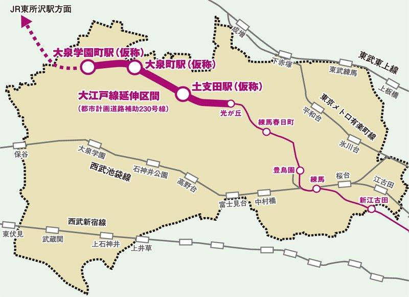 大江戸線延伸計画図